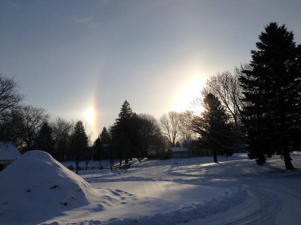 snow sun dogs